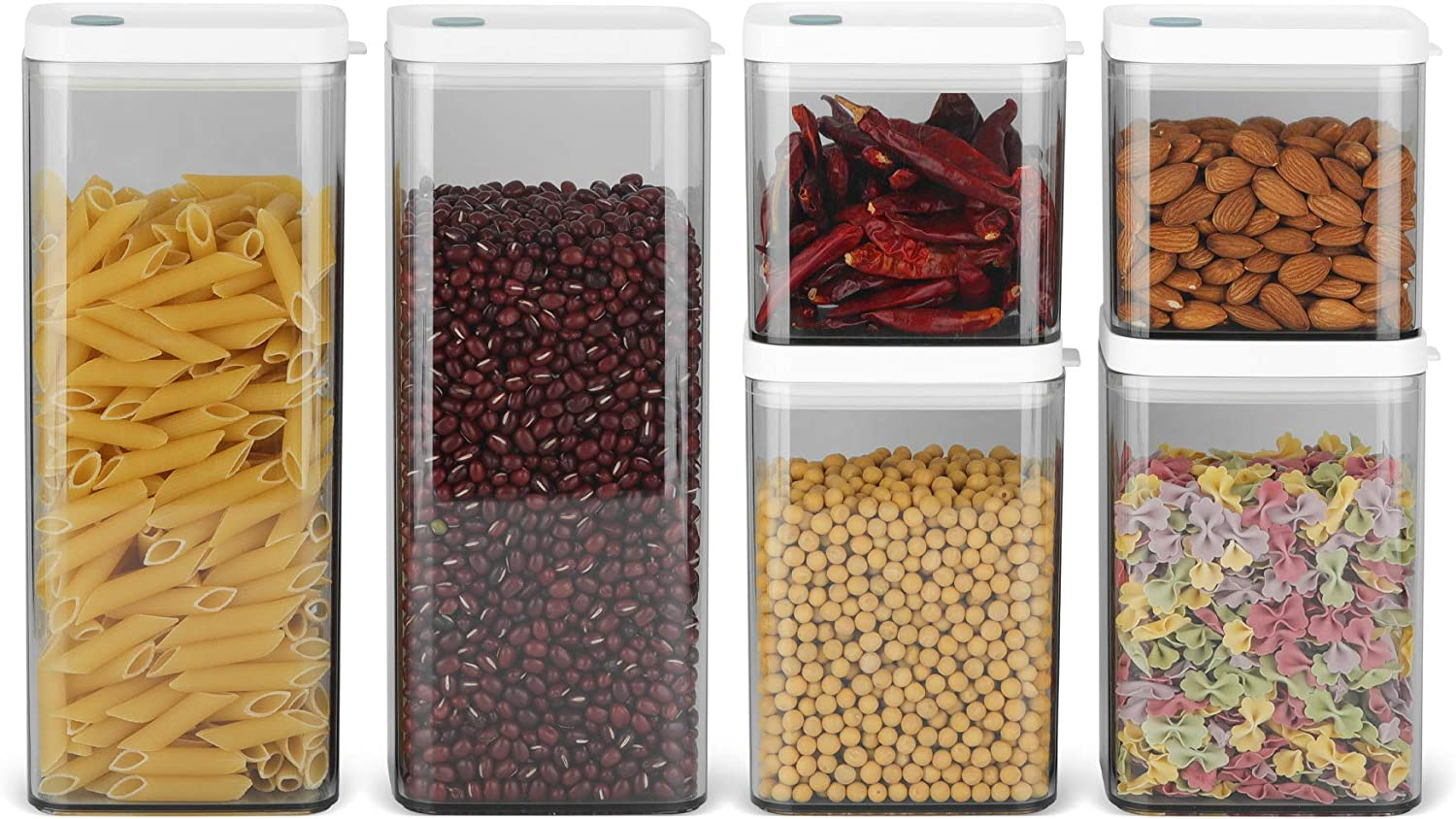 ComSaf Airtight Food Storage Container with Lid(24oz/37oz/64oz) Set of 6, Square Airtight Canisters, BPA Free Clear Plastic Food Storage Canister, Kitchen Pantry Container for Sugar, Flour and Cereal