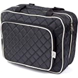 Ellis James Designs Large Travel Toiletry Bag for Women with Hanging Hook, Black, Big Wash Bags - Hair Dryer Case - Multi-use Toiletries Kit Cosmetics Makeup XL Bathroom Organizer Suitcase Luggage