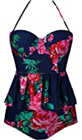 Angerella Women's Floral Print Ruffles Strap Tankini Two Piece Swimsuit
