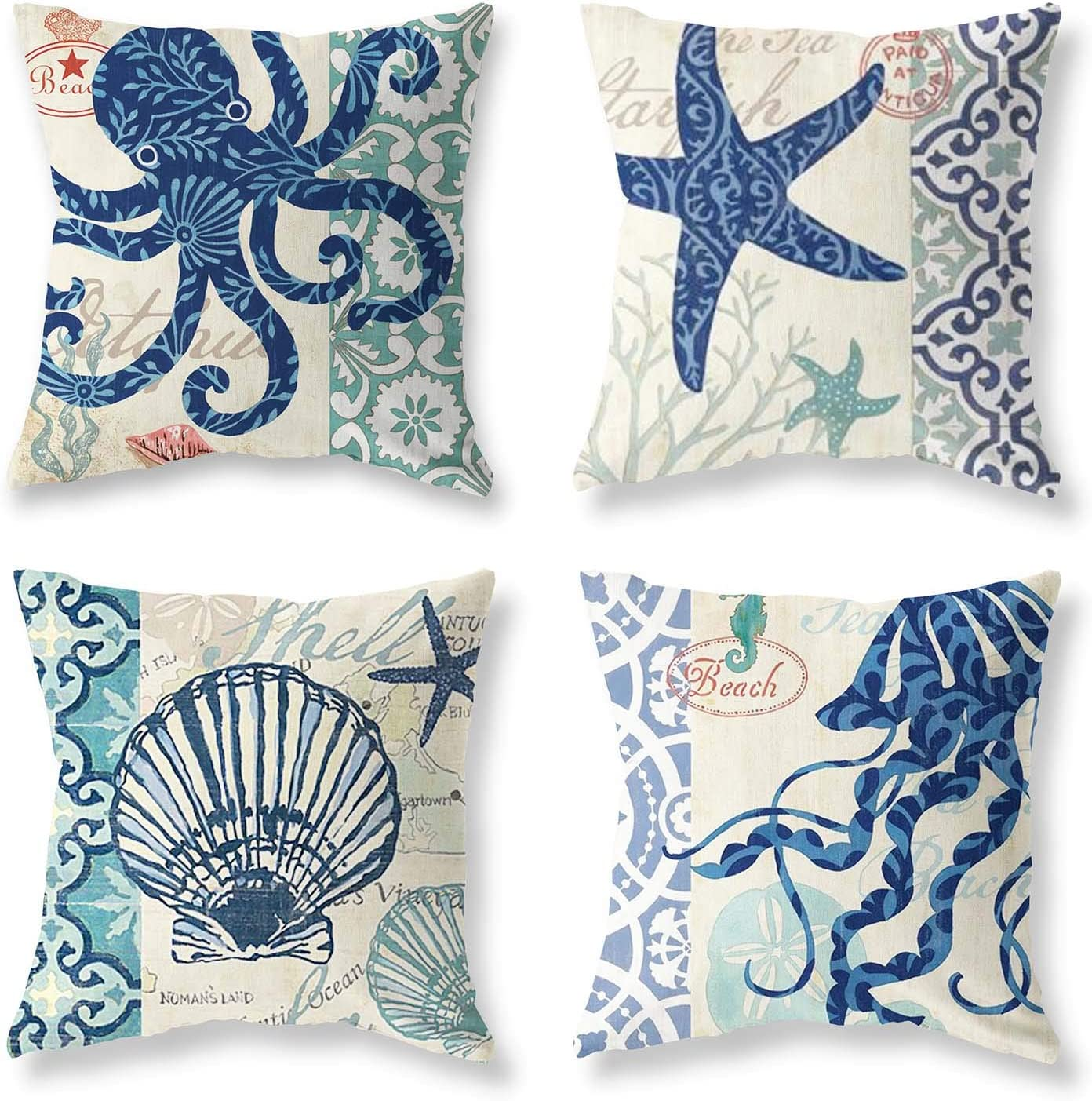 Pack of 4 Decorative Throw Pillow Covers 18x18 Inch Ocean Theme Holiday Octopus Starfish Shell Squid Travel Cool Square Pillow Case Coastal Cushion Cover Home Decor Sofa Car Bedroom Pillows Covers