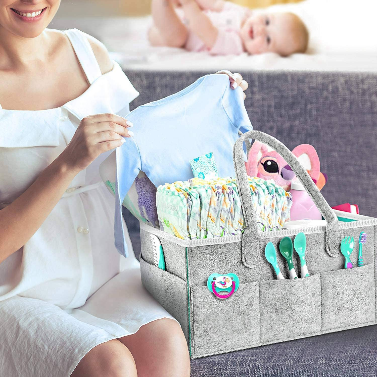 Nursery Essentials Storage Bins Monland Portable Large Diaper Caddy Tote Baby Diaper Caddy Organizer Portable Holder Bag For Changing Table And Car