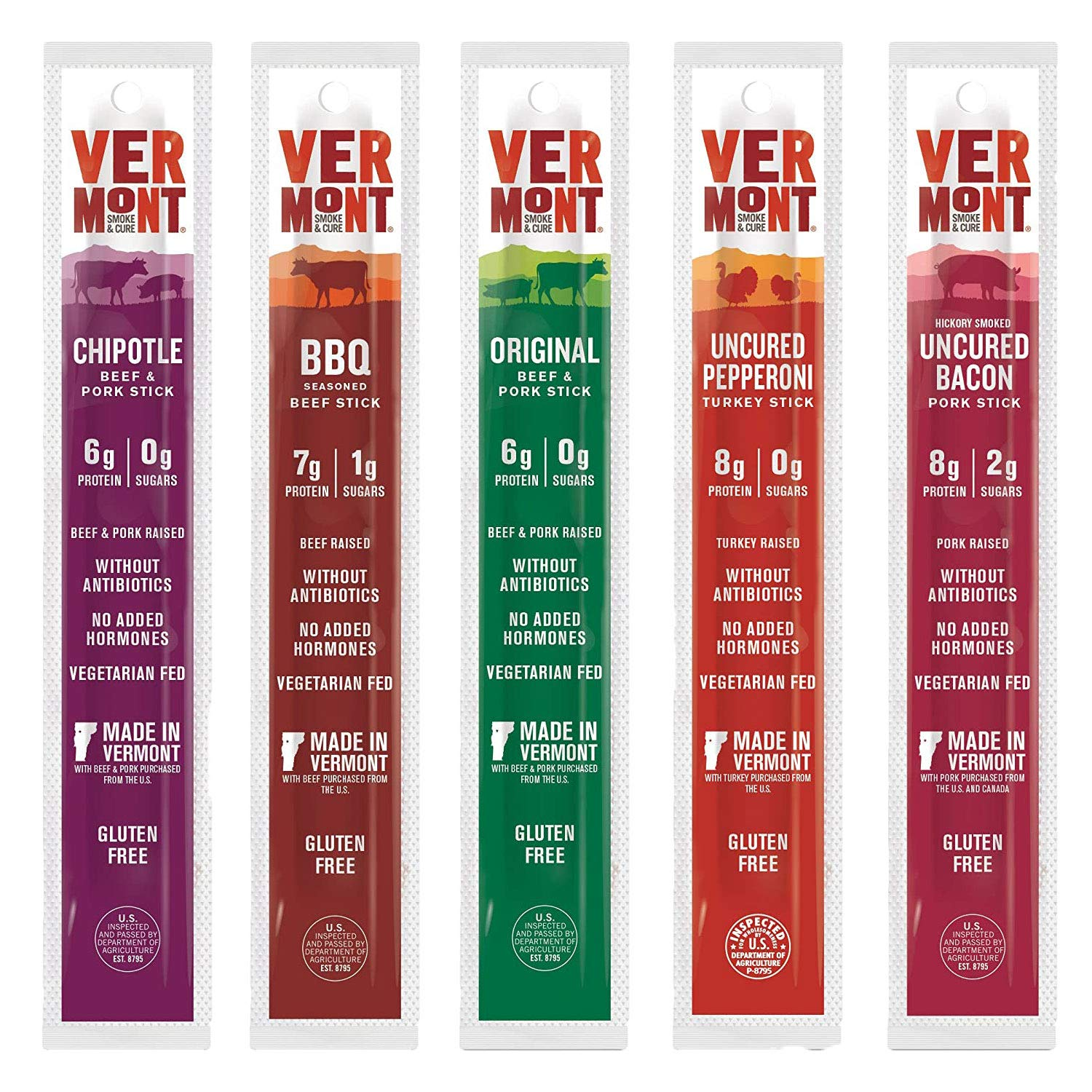 Vermont Smoke & Cure Jerky Sticks - Beef, Pork, Turkey - Variety Pack of 20 (1 ounce sticks) - Keto Snack, High Protein, Low Sugar
