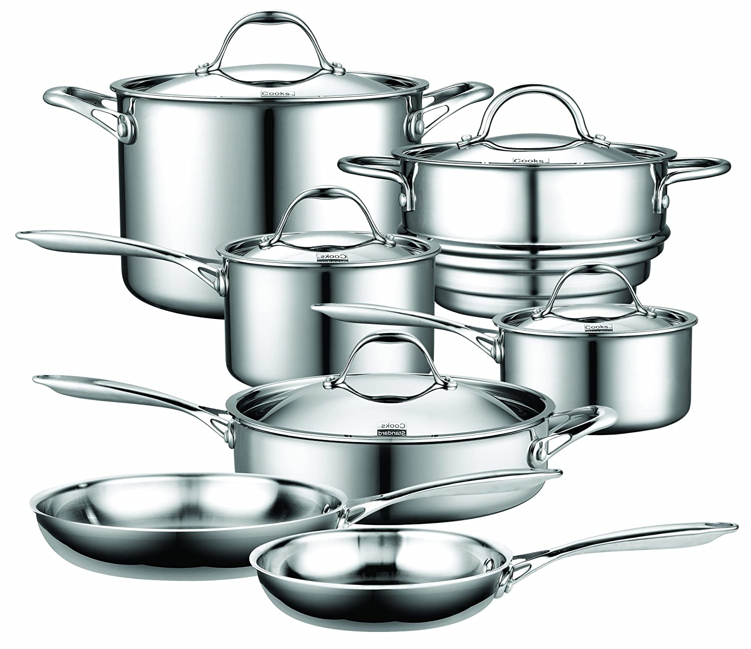 All clad stainless steel cookware sets - Amazon Com Cooks Standard Nc 00232 12 Piece Multi Ply Clad Stainless Steel Cookware Set Kitchenaid Stainless Cookware Set Kitchen Dining