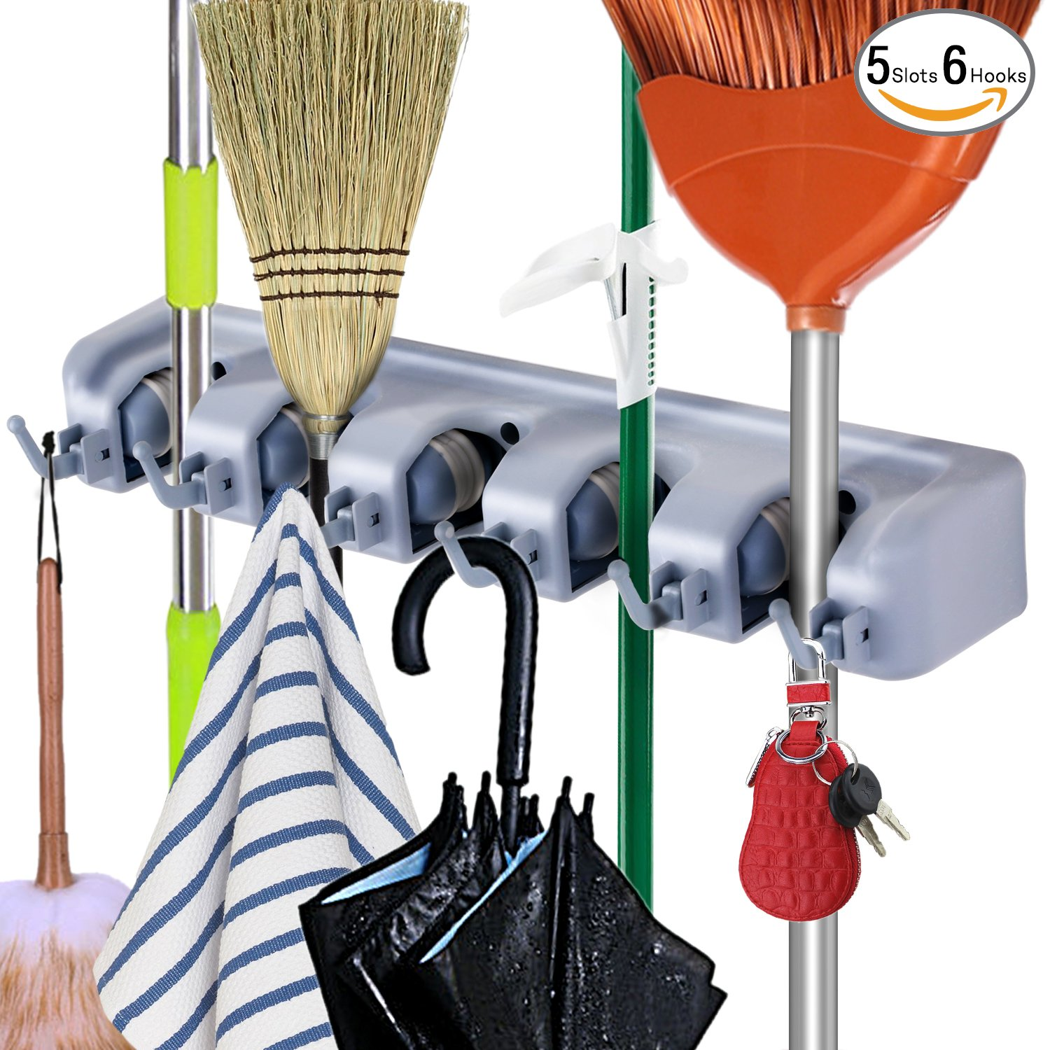 Durable Broom and Mop Holder Rack, Wall Mounted Mop Hanging Organizer by DealBang with 5 Slots & 6 Foldable Hooks Multi-used for Storage Tools on Garage, Kitchen and The Back Side of Door (Grey)