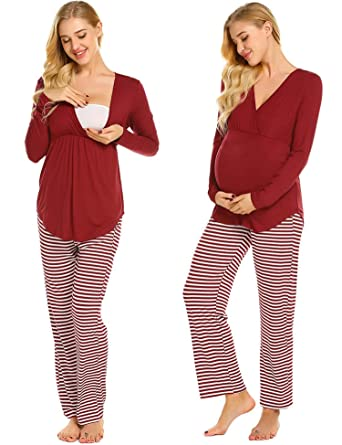 939d066b77e71 Ekouaer Womens Maternity Nursing Pajama Set Nightdress Robe Set Stripes  Long Pants (Wine Red Striped XL) at Amazon Women's Clothing store: