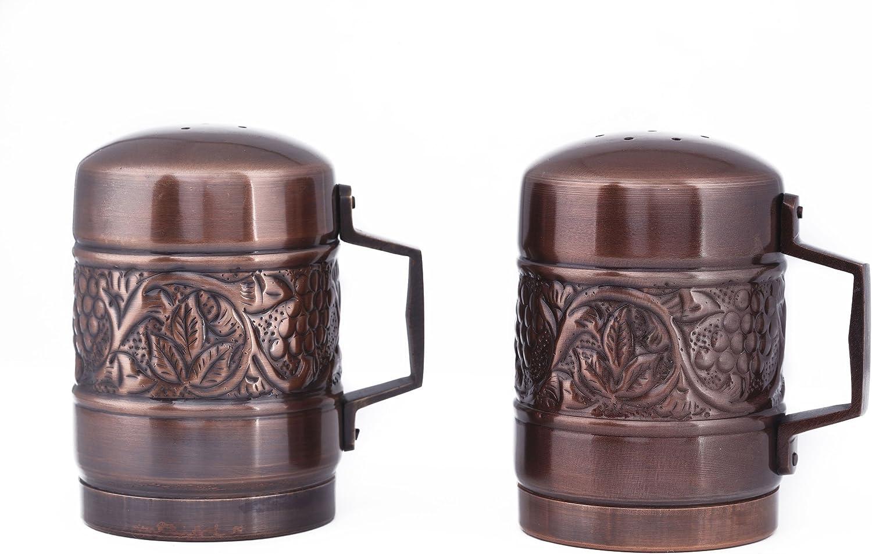 """Old Dutch International Copper Old Dutch Antique Heritage Stovetop Salt & Pepper Set, 4"""", 4"""""""