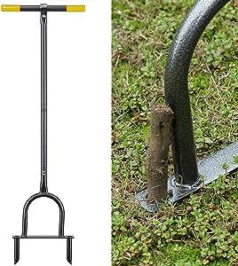INFLATION Manual Lawn Coring Aerator, Heavy Duty Grass Dethatching Turf Plug Core Aeration Tool