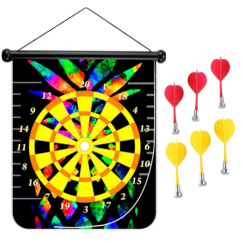 15インチMagnetic Dart Board Double Sided Hanging Dart Board Set and Bullseyeゲーム。パイナップル