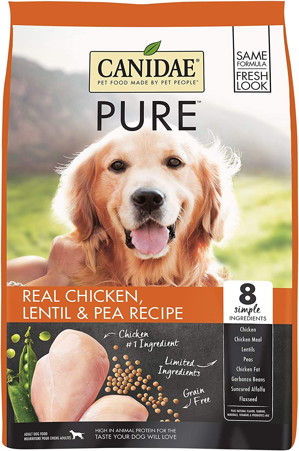 Canidae PURE Grain Free, Limited Ingredient Dry Dog Food, Chicken, Lentil and Pea, 24lbs