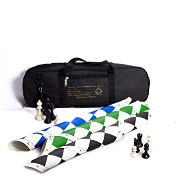 Paramount Dealz Fide Standards Professional Vinyl Chess Set with 2 Extra Queens/Chess Bag (Combo of 3 -Green, Blue and Black, 20x 20)