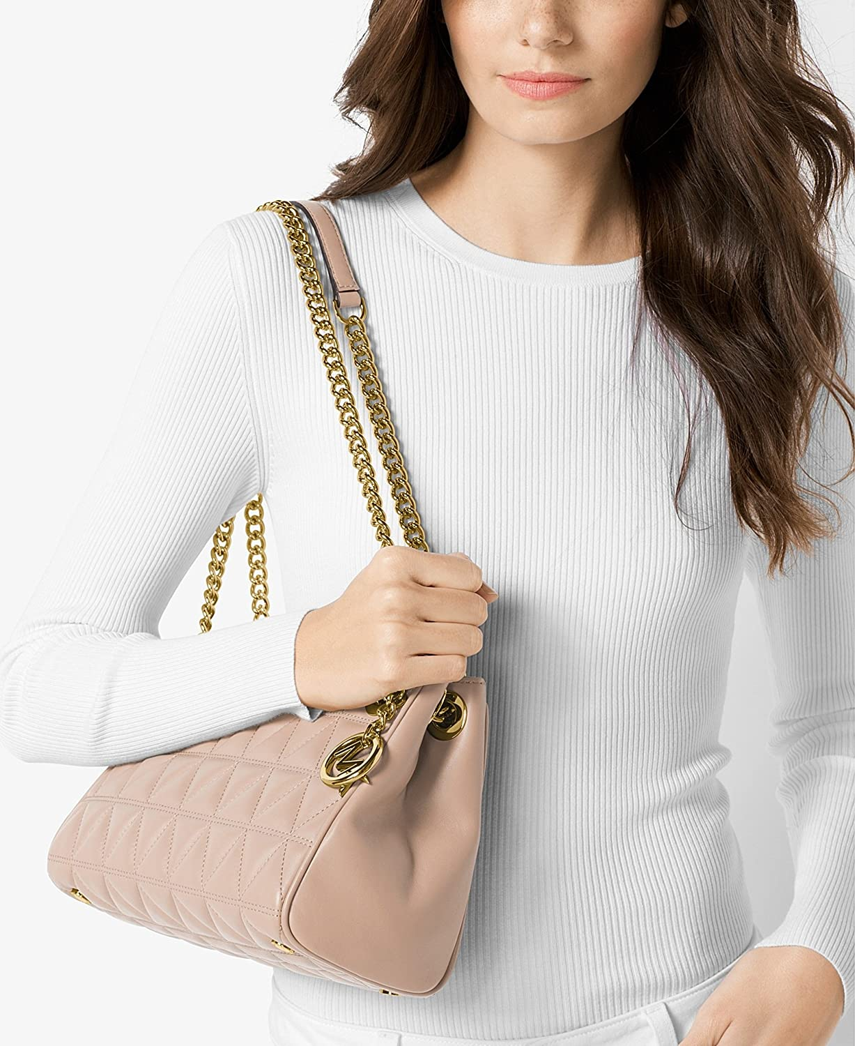 450de93b1ffb MICHAEL KORS Scarlett Quilted Leather Shoulder Bag in Soft PInk: Handbags:  Amazon.com