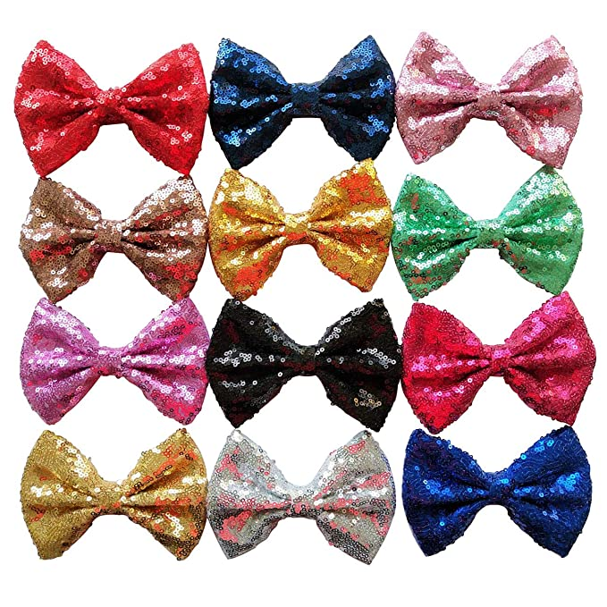 Puffy 3 Inch Bow Sequin Beige Puffy Sequin Fabric Bow 3-3 Inch Sequins Fabric Bows Sparkle