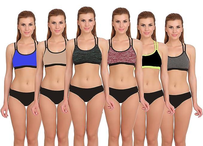 Fashion Comfortz Sports Cotton Bra Panty Set for Womens Girls,Sexy  Lingerie,Ladies Undergarments