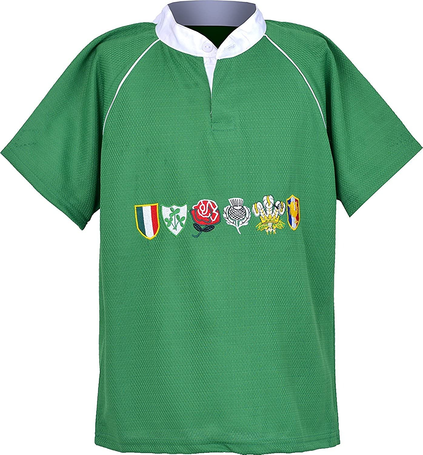 Activewear Children 6 Nation Rugby Shirts Size 3/4Y to 11/12 Year (S 3/4Y, EMERED Green) NMK6NRS01