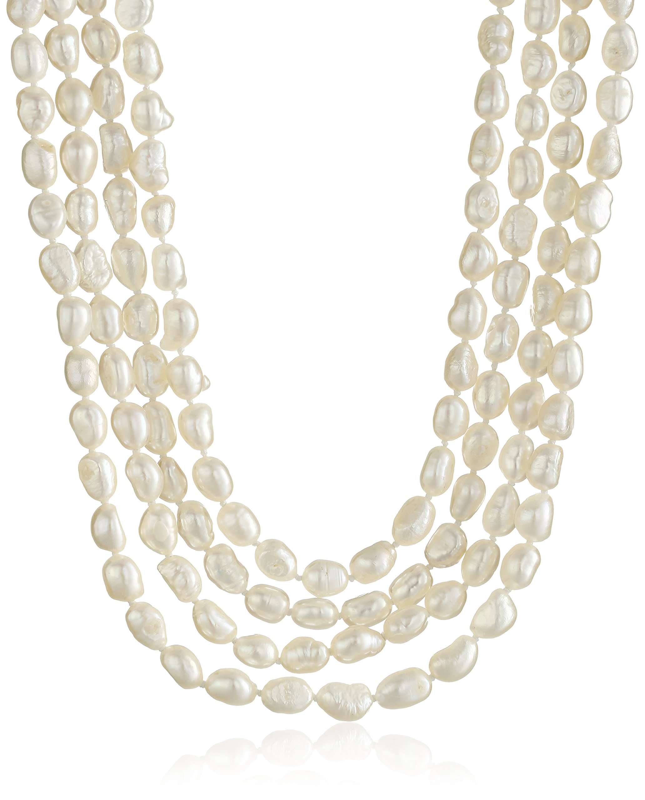 5-6mm White Baroque Freshwater Cultured Pearl Endless Necklace, 100''