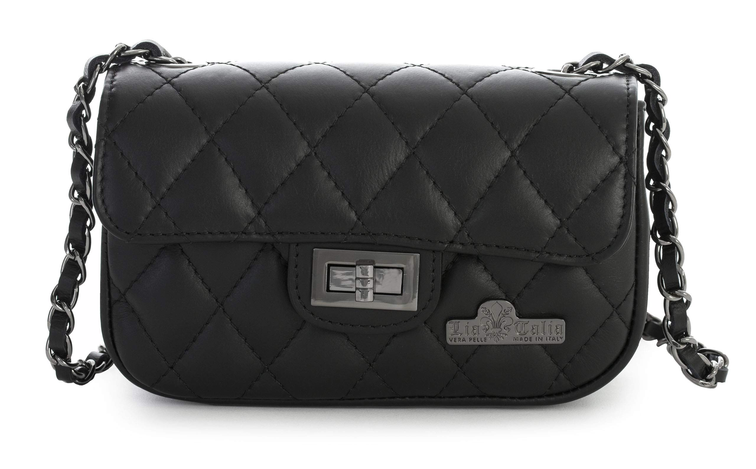 LIATALIA Womens Ladies Quilted Genuine Italian Leather Evening Clutch Party Bag Purse - CAROL [Small - Black]