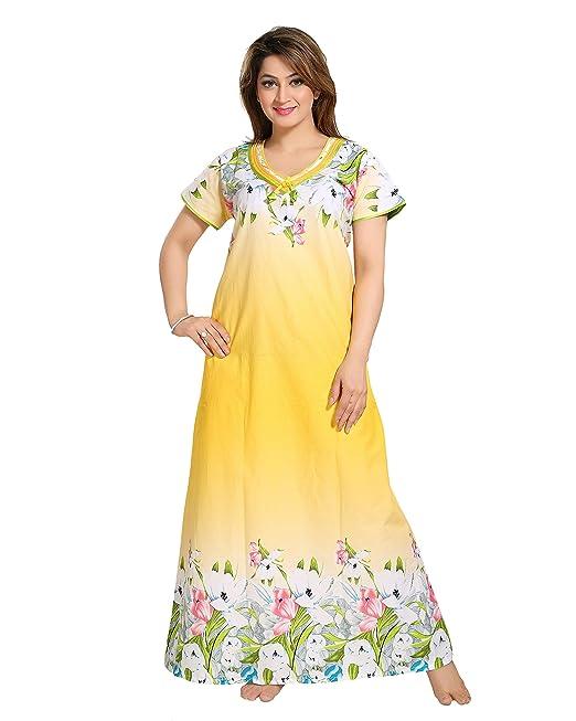 db07d85eeaa8 Sabera Premium Cotton Nighty   Night gown   Nightwear   Nightdress Solid  Shade with Floral Print Style 1370 (Medium