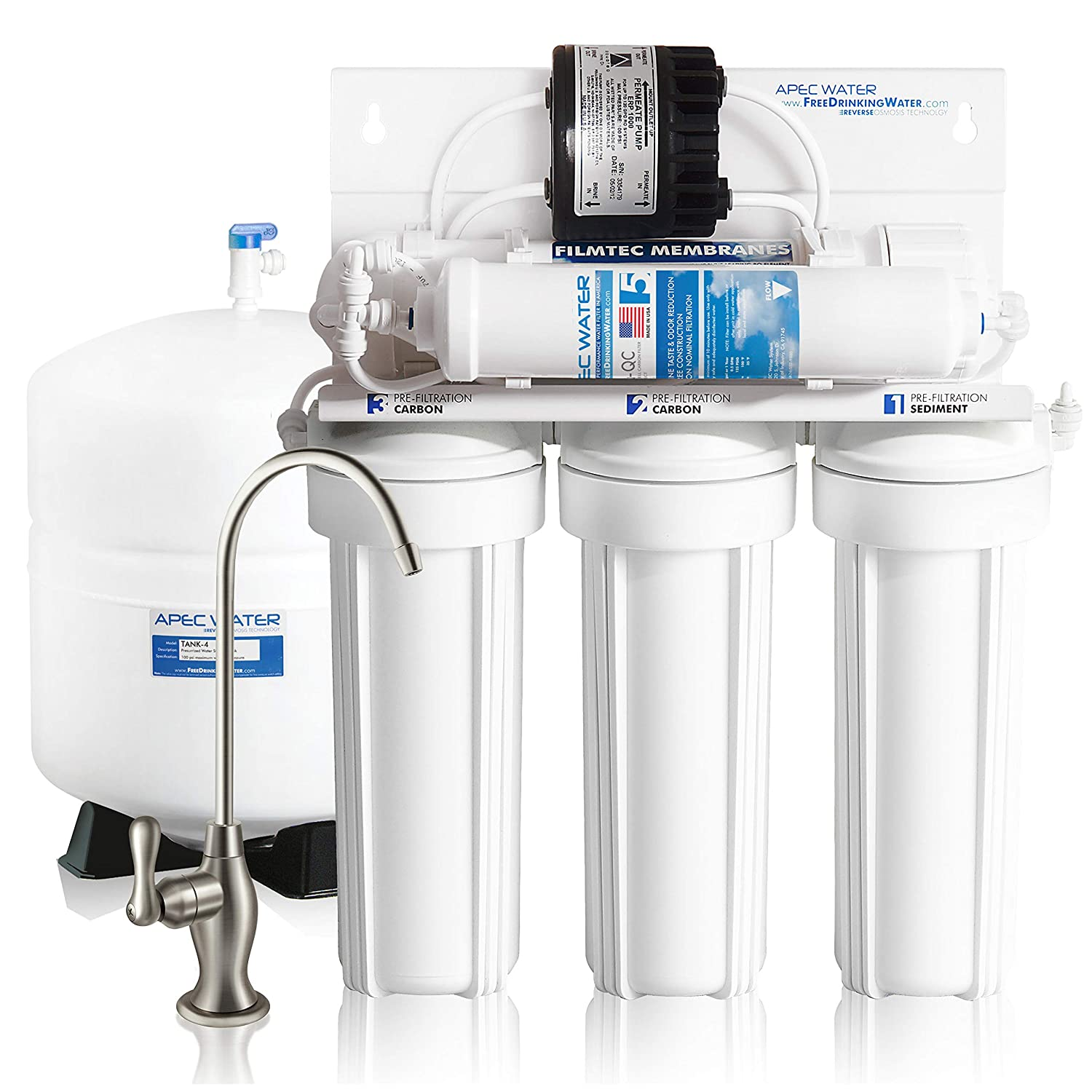 APEC Water Systems ULTIMATE RO-PERM Boosted Performance with Permeate Pump Ultra Safe Reverse Osmosis Drinking Water Filter System, for for Low Pressure Homes
