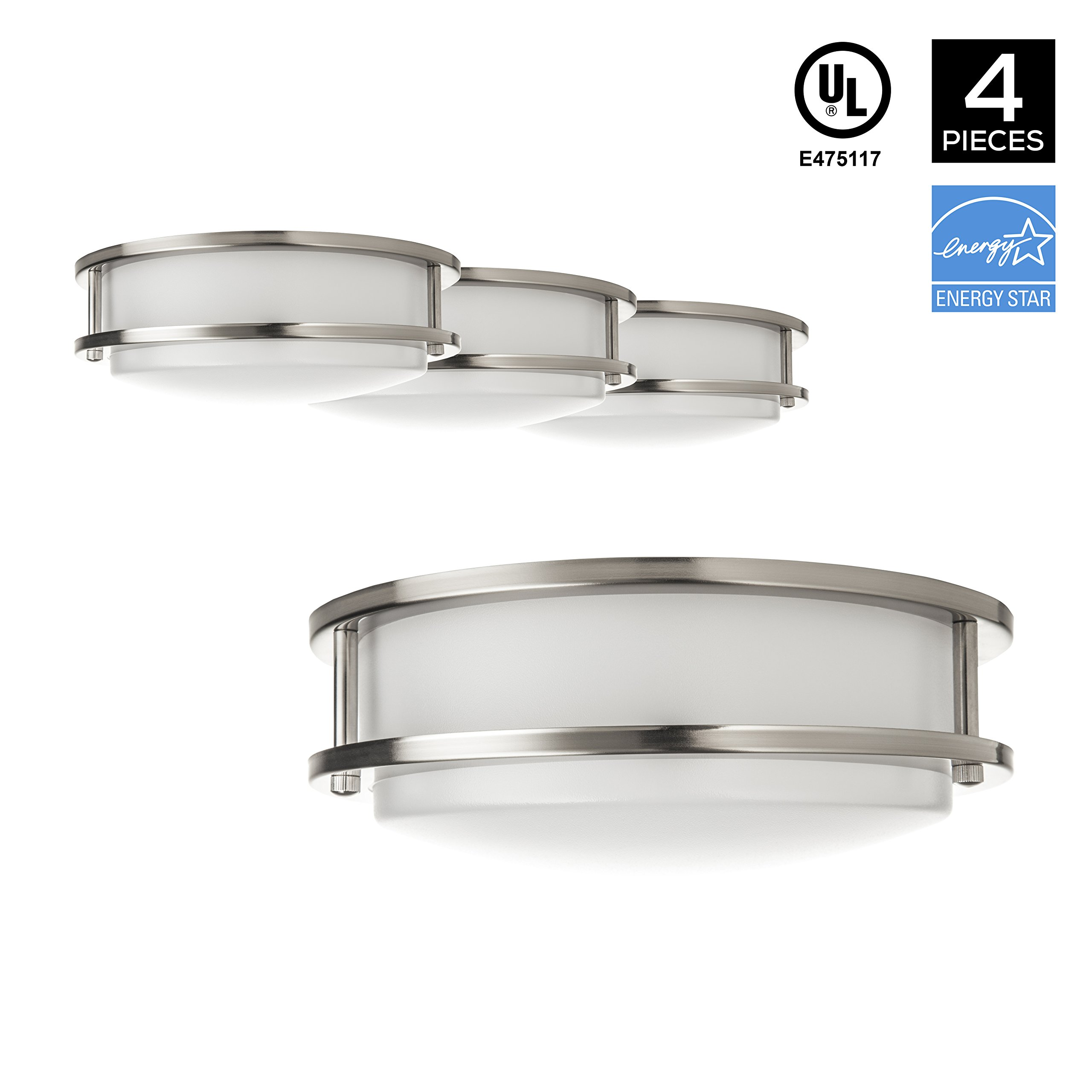 Hyperikon LED Flush Mount Ceiling Light, 10'', 15W (65W equivalent), 1390lm, 4000K (Daylight Glow), 120° Beam Angle, 120V, UL and ENERGY STAR Listed, 10-Inch Flush Mount, Dimmable - (Pack of 4)