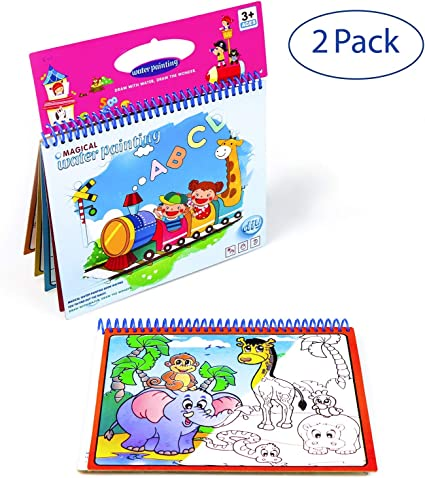 Watermagic Books Reusable Water-Reveal Activity Pads 2-pk Water Coloring Books Aqua Drawing Painting Toy Travel Kits with Bonus Pens for Kids Letter,Numbers