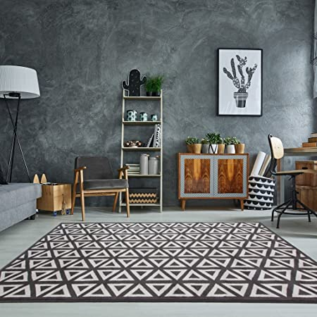 The Rug House Milan Graphite Grey Dark Geometric Modern Traditional ...