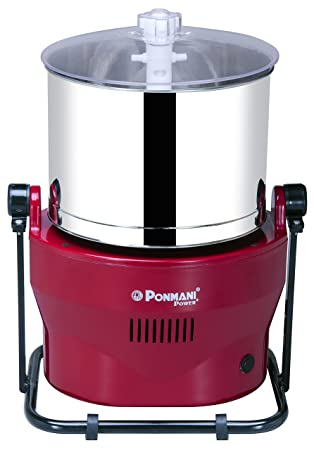 Ponmani Power Plus Table Top Wet Grinder - 3 Litre - Red Color