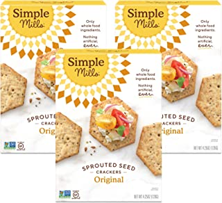 product image for Simple Mills Original Gluten Free Sprouted Seed Crackers with Chia Seeds, Hemp Seeds, Sunflower Seeds, Flax Seeds, and Sunflower Oil, Made with whole foods, 3 Count (Packaging May Vary)
