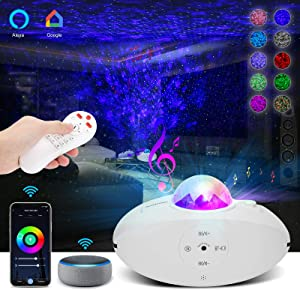 Star Projector, Galaxy Projector Works with Alexa & Google Assistant, Ocean Wave Projector with WiFi APP & Voice Control, Bluetooth Speaker & Timer, Night Light Perfect for Home, Party, Kids & Adults