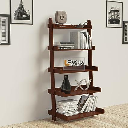 RjKart Wooden Furniture 5 Tier Bookcase Ladder Shelf Room Organiser Storage Divider