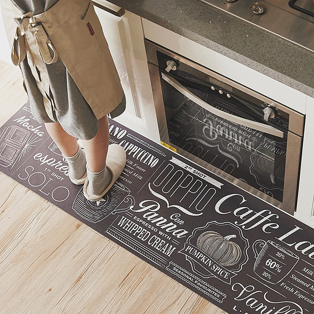 """USTIDE Classic Kitchen Comfort Chef Floor Mat, 17.7x70.9"""", Linen Cardinal Stain Resistant Surface with 0.4cm Thickness Gel Core for Health and Wellness"""