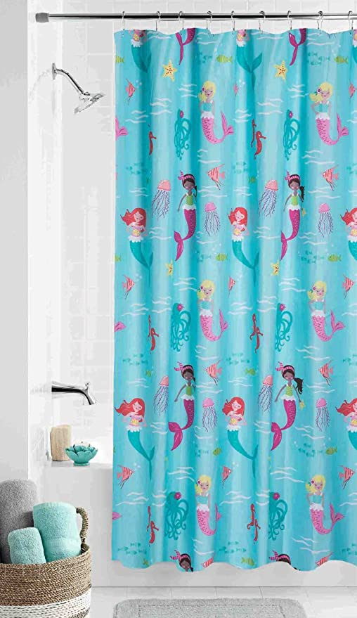 Amazon Mermaid Fabric Shower Curtain 70x72 Girls Kids Child