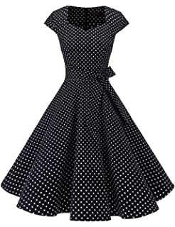 DRESSTELLS Retro 1950s Cocktail Dresses Vintage Swing Dress Cap-Sleeves