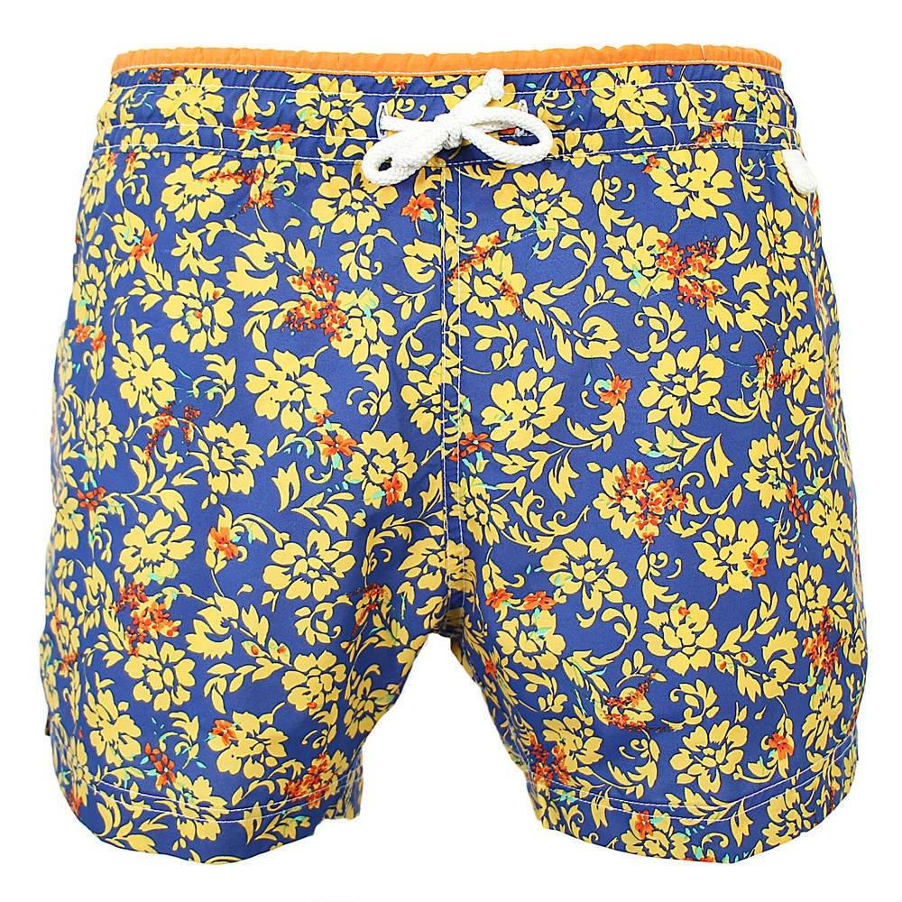 Les loulous de la plage Badeshort und Badehose Herren blau Orange - New Jim - Kitch Flower