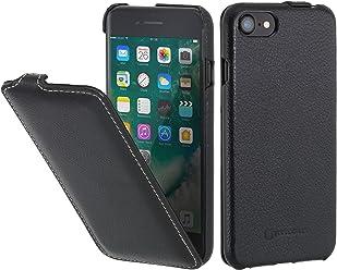 StilGut UltraSlim, Housse pour iPhone 8 & iPhone 7 en Cuir. Etui de Protection à Ouverture Verticale et Fermeture clipsée en Cuir véritable pour iPhone 8 & iPhone 7 (4,7 Pouces), Noir