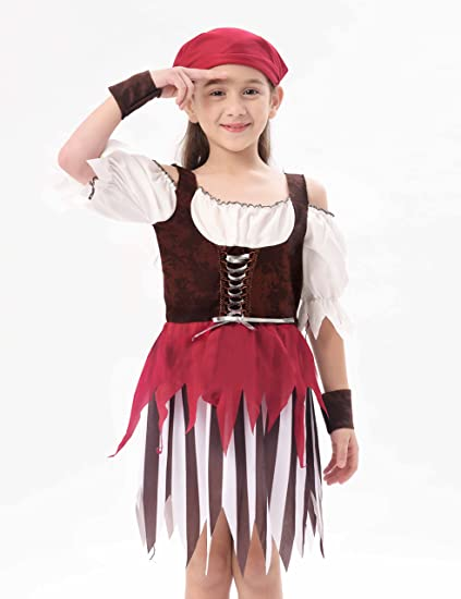 90ad742a6b785 IKALI Baby Toddler Girl Pirate High Seas Buccaneer Costume Party Decoration  Toy Kids Pretend Play Pirate