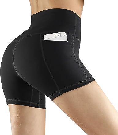 Womens Tummy Control Workout High Waist Yoga Shorts Side Pockets Running Pants
