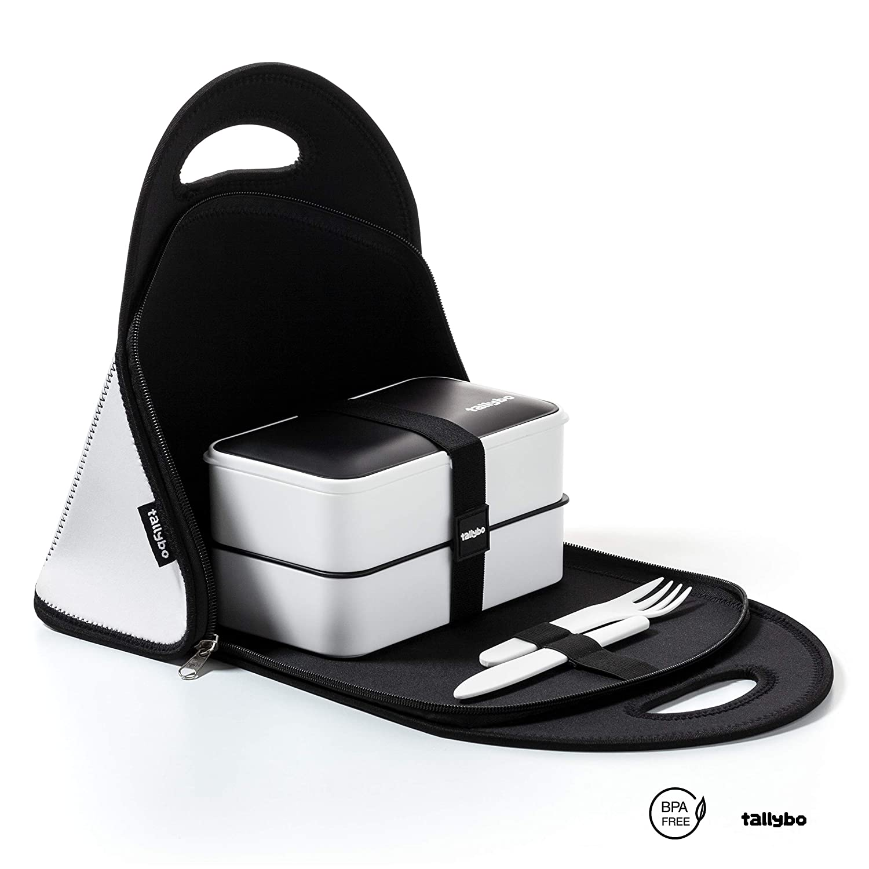 Cubiertos Bento Box Fiambrera T/érmica Bolsa Comida Trabajo Accesorios Incluidos Bolsa T/érmica Porta Alimentos Para Llevar Comida con Lunch Box 3 Compartimientos Tallybo Lunch Bag