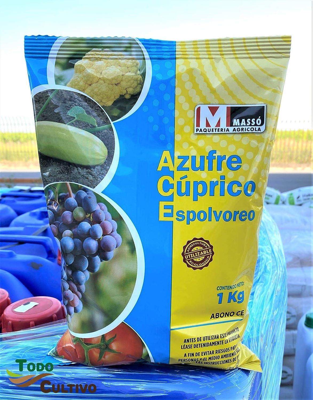 Todo Cultivo Azufre Cúprico para espolvoreo 1 Kg. Fungicida y acaricida ecológico en Polvo. Muy eficaz en prevención de Mildiu, oídios o acariosis en Huerta o parrales.
