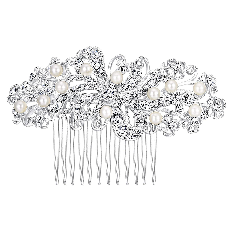 Ever Faith Bridal Flower Cream Simulated Pearl Clear Austrian Crystal Hair Comb N00407-1