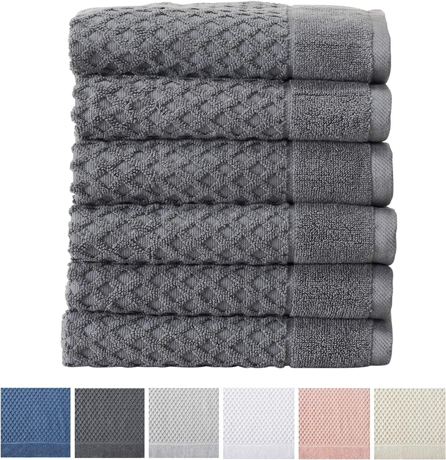 Textured Luxury Hand Towels Set of 6, Pink Grayson Collection Highly Absorbent Great Bay Home 100/% Cotton Hand Towel Set 16 x 28 inches
