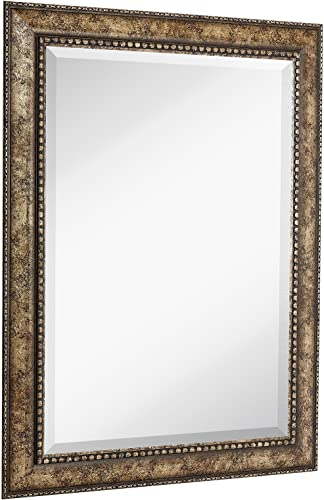 NEW Large Embellished Transitional Rectangle Wall Mirror Luxury Designer Accented Frame Solid Beveled Glass Made In USA Vanity, Bedroom, or Bathroom Hangs Horizontal or Vertical 30 x 40
