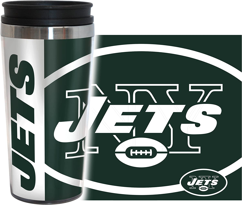 Boelter Brands NFL New York Jets 14 Ounce Travel TumblerFull Wrap Hype, Team Color, 14 Ounce
