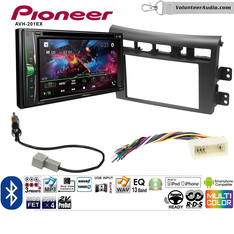 Volunteer Audio Pioneer AVH-201EX Double Din Radio Install Kit with CD Player Bluetooth USB/AUX Fits 2007-2009 Kia Amanti