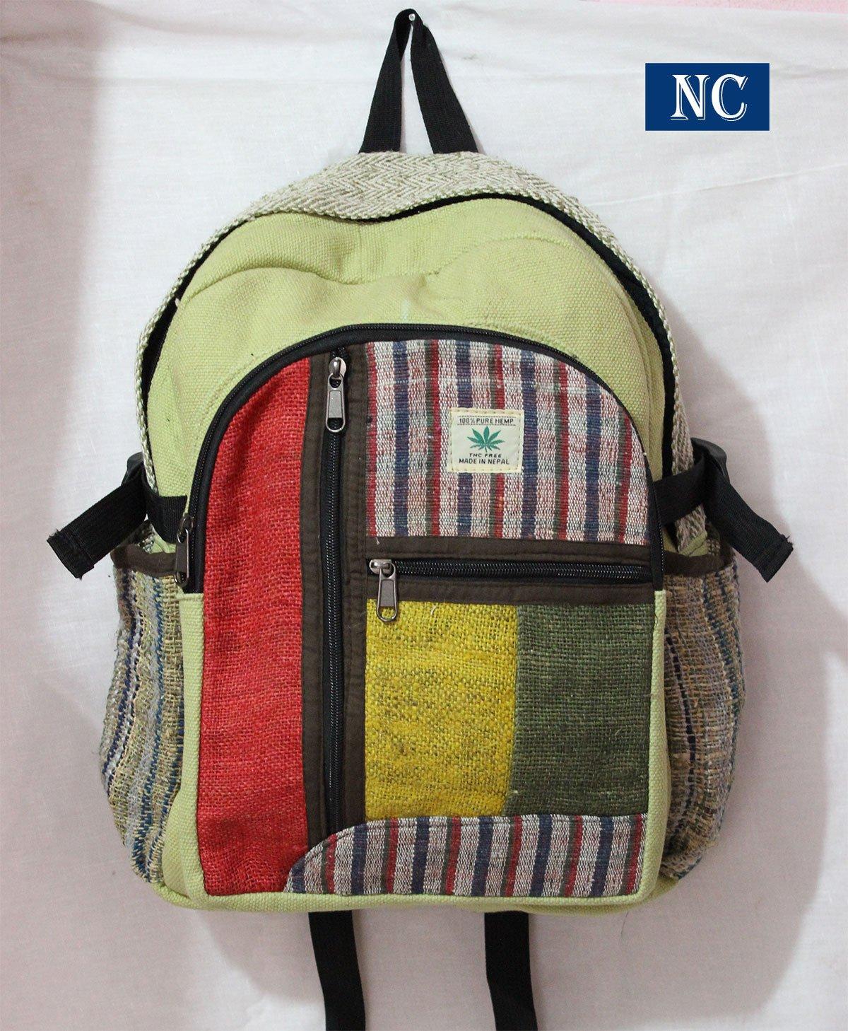 Nepali Handmade Hemp Rasta Backpack - 100% Pure Hemp (THC FREE) Backpack Handmade Nepal with Laptop Sleeve - Fashion Cute Travel School College Shoulder Bag / Bookbags / Daypack