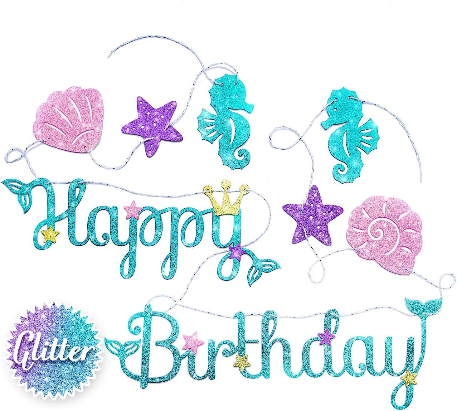 Amazon Com Mermaid Happy Birthday Banner Mermaid Party Supplies Decorations Premium Under The Sea Mermaid Birthday Party Decor Theme New For 2020 Cute Sparkle Glitter And Pre Assembled Home Kitchen