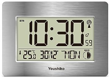 Youshiko Reloj de Pared LCD con Control de Radio y silencioso (versión de Reino Unido e Irlanda) Jumbo LCD: Amazon.es: Electrónica