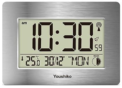 Youshiko Reloj de Pared LCD con Control de Radio y silencioso (versión de Reino Unido