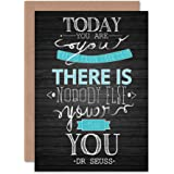 Wee Blue Coo YOUER THAN YOU QUOTE TYPOGRAPHY BLANK GREETINGS BIRTHDAY CARD ART