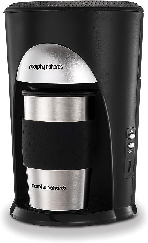 Morphy Richards 162740 Coffee On The Go - Cafetera con filtro Cafetera de acero inoxidable negro y cepillado: Amazon.es: Hogar