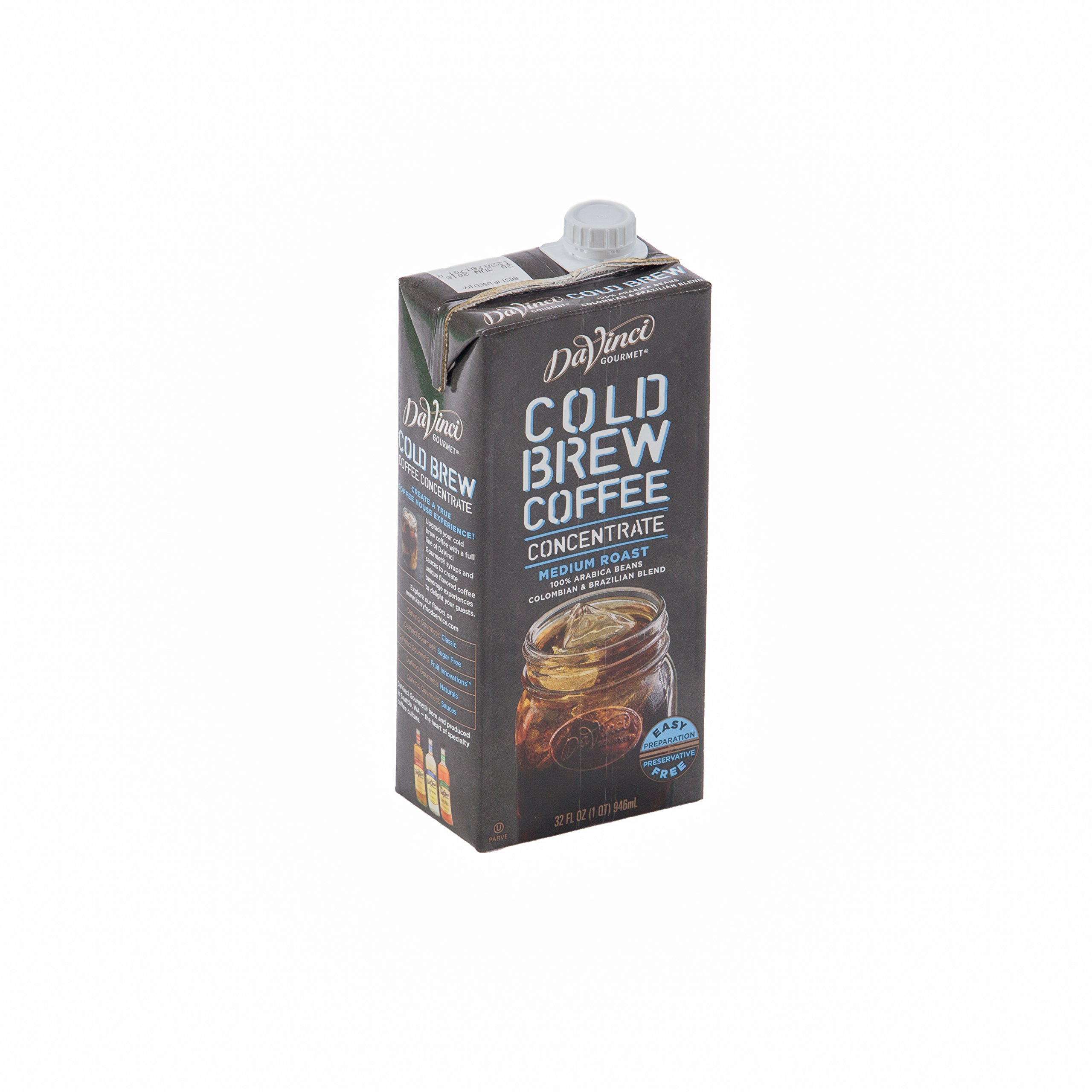 DaVinci Gourmet Cold Brew Coffee Concentrate 32 oz, Pack of 6